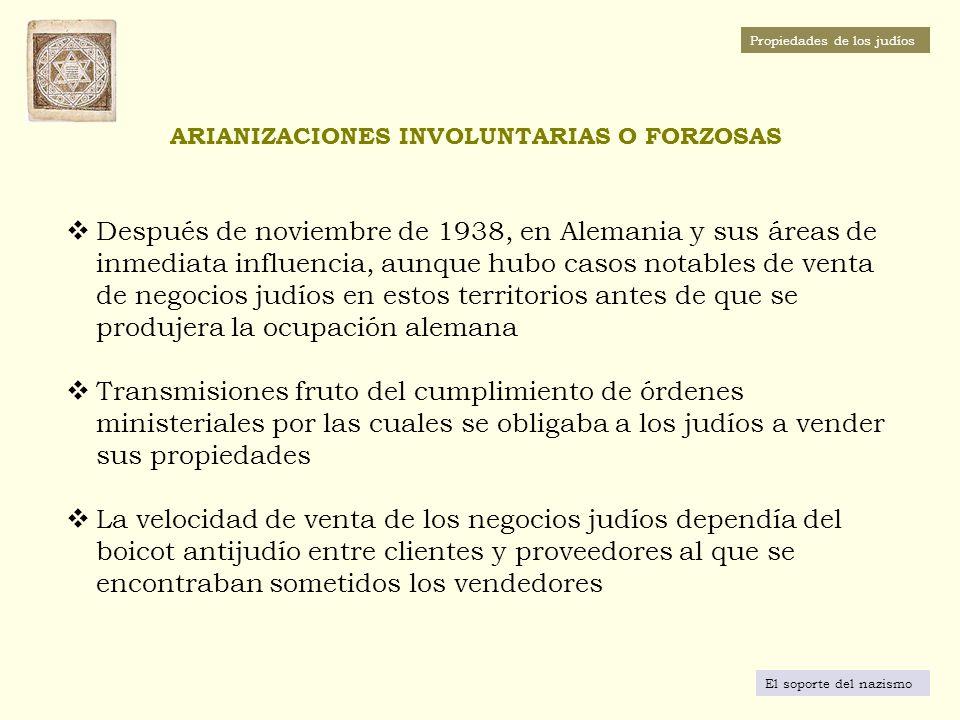 ARIANIZACIONES INVOLUNTARIAS O FORZOSAS