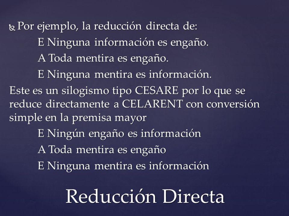 Reducción Directa Por ejemplo, la reducción directa de: