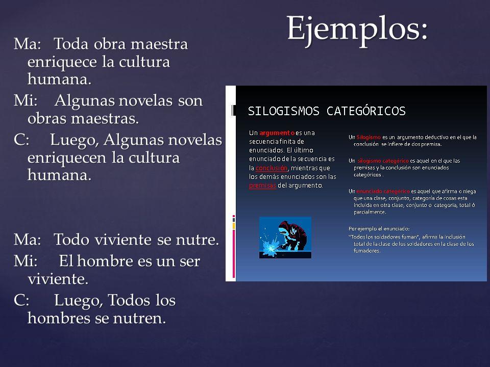 Ejemplos: Ma: Toda obra maestra enriquece la cultura humana.