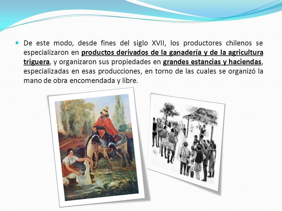 De este modo, desde fines del siglo XVII, los productores chilenos se especializaron en productos derivados de la ganadería y de la agricultura triguera, y organizaron sus propiedades en grandes estancias y haciendas, especializadas en esas producciones, en torno de las cuales se organizó la mano de obra encomendada y libre.