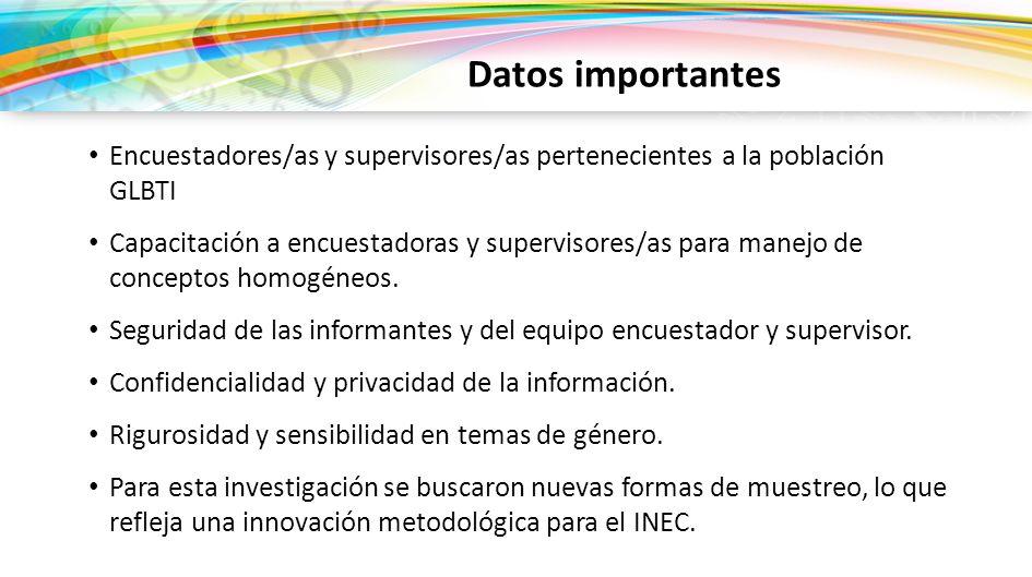 Datos importantes Encuestadores/as y supervisores/as pertenecientes a la población GLBTI.