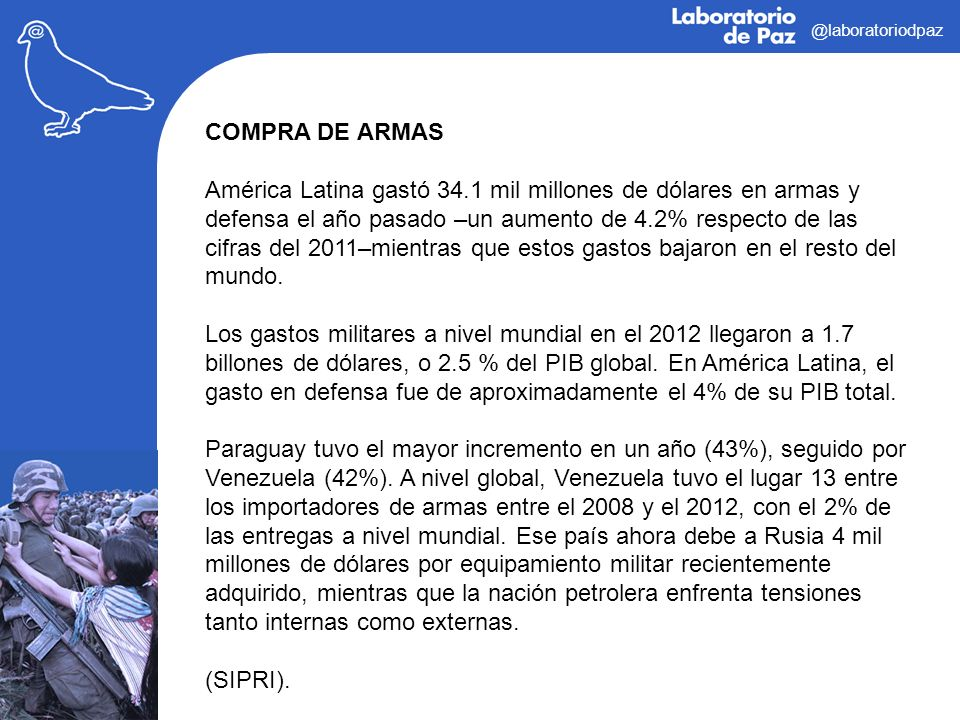 @laboratoriodpaz COMPRA DE ARMAS.