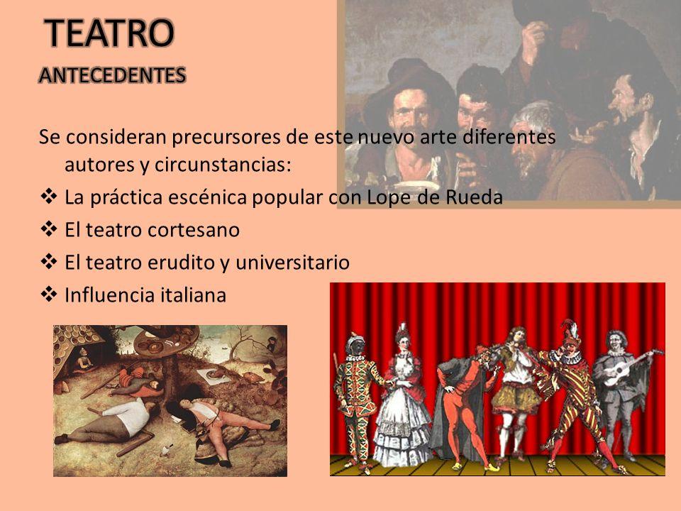 TEATRO Se consideran precursores de este nuevo arte diferentes autores y circunstancias: La práctica escénica popular con Lope de Rueda.