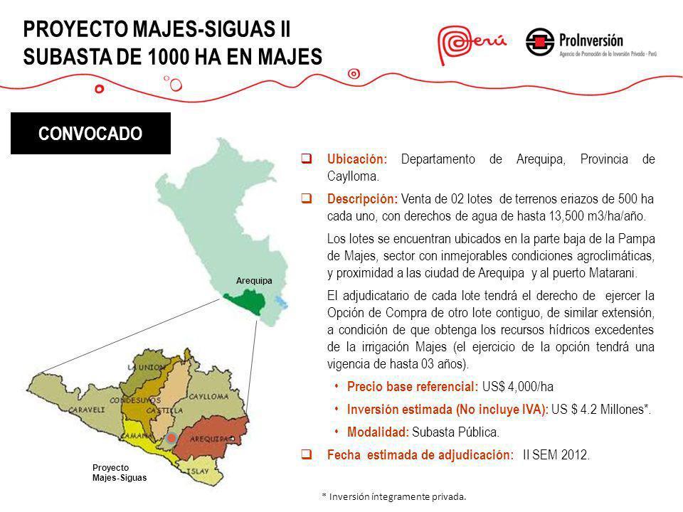 PROYECTO MAJES-SIGUAS II SUBASTA DE 1000 HA EN MAJES