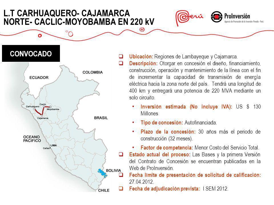 L.T CARHUAQUERO- CAJAMARCA NORTE- CACLIC-MOYOBAMBA EN 220 kV