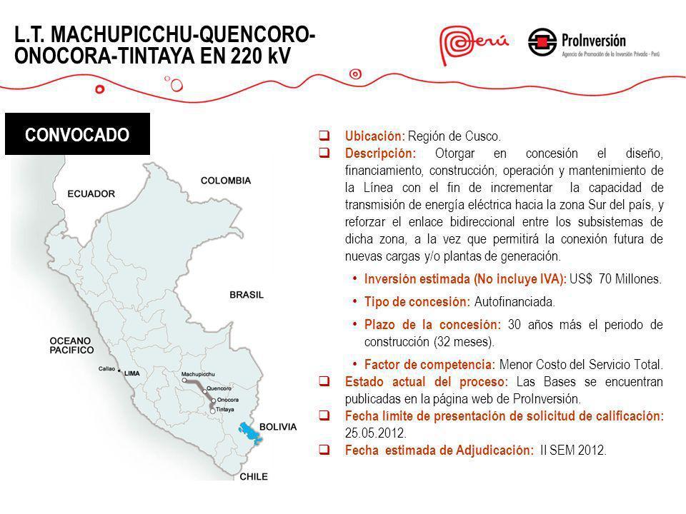 L.T. MACHUPICCHU-QUENCORO- ONOCORA-TINTAYA EN 220 kV