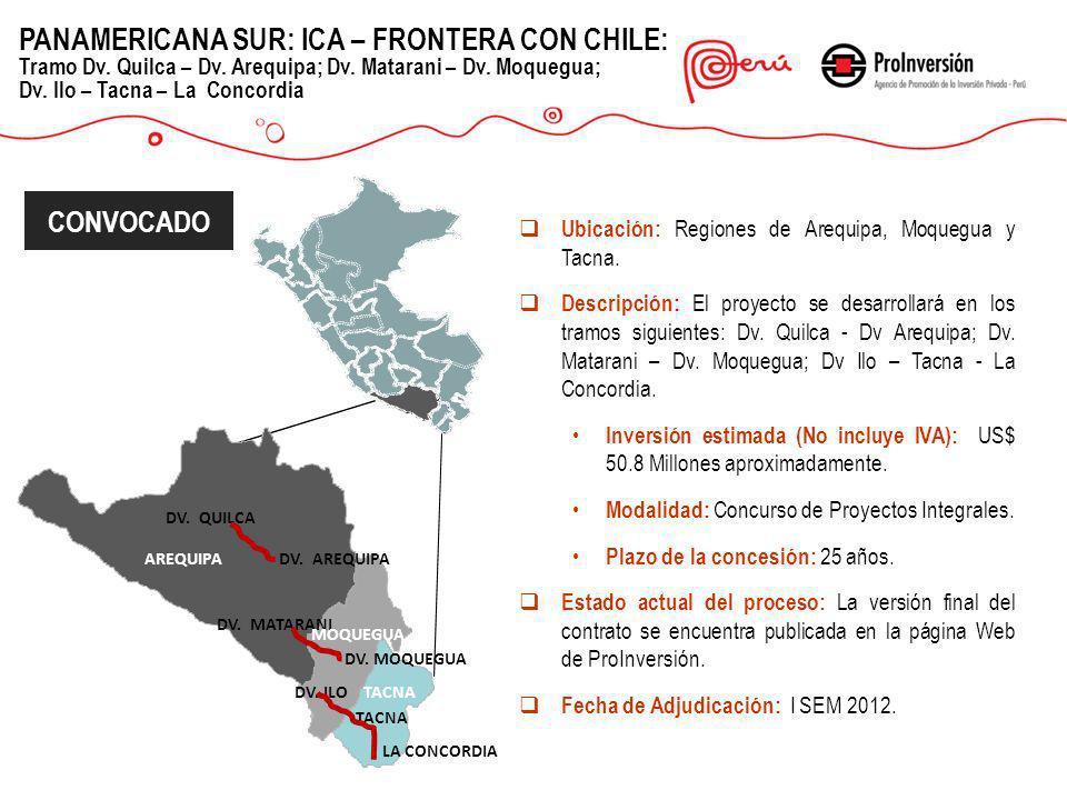 PANAMERICANA SUR: ICA – FRONTERA CON CHILE: Tramo Dv. Quilca – Dv