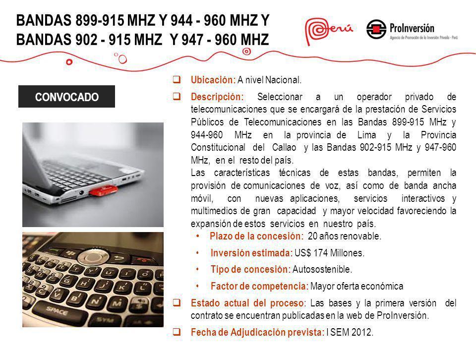 BANDAS 899-915 MHZ Y 944 - 960 MHZ Y BANDAS 902 - 915 MHZ Y 947 - 960 MHZ