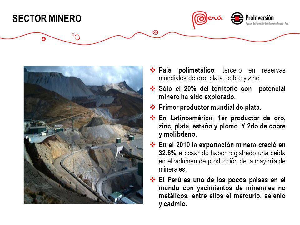 SECTOR MINERO País polimetálico, tercero en reservas mundiales de oro, plata, cobre y zinc.