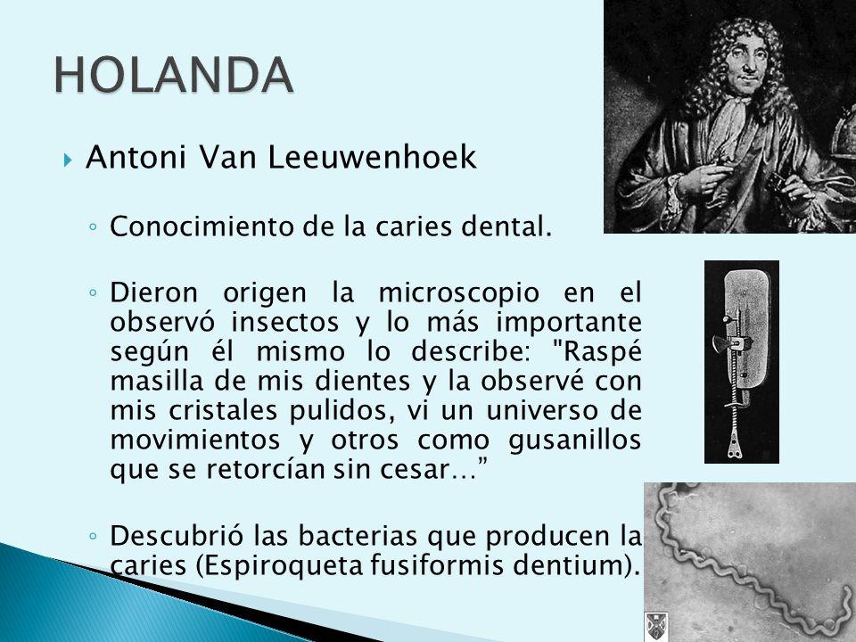 HOLANDA Antoni Van Leeuwenhoek Conocimiento de la caries dental.