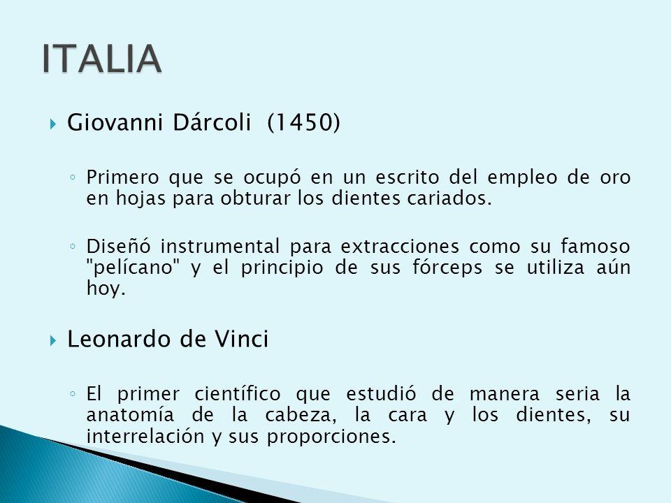 ITALIA Giovanni Dárcoli (1450) Leonardo de Vinci