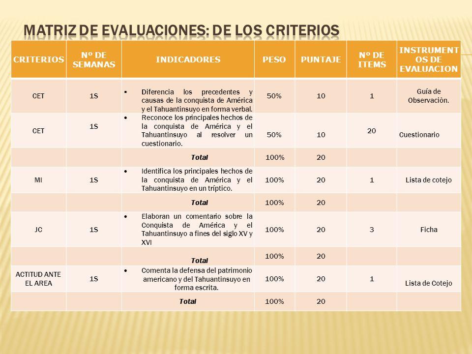 MATRIZ DE EVALUACIONES: de los criterios
