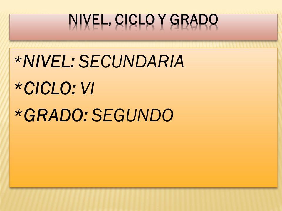 Nivel, ciclo y grado *NIVEL: SECUNDARIA *CICLO: VI *GRADO: SEGUNDO