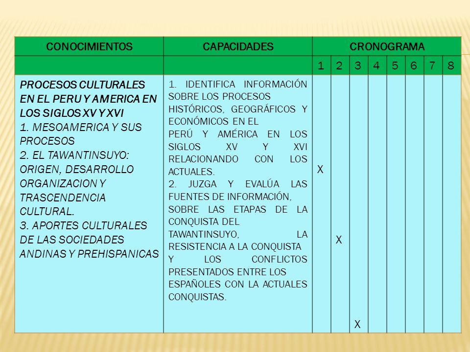 CONOCIMIENTOS CAPACIDADES CRONOGRAMA
