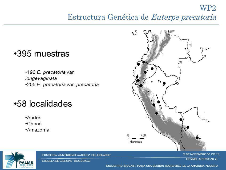 395 muestras 58 localidades WP2