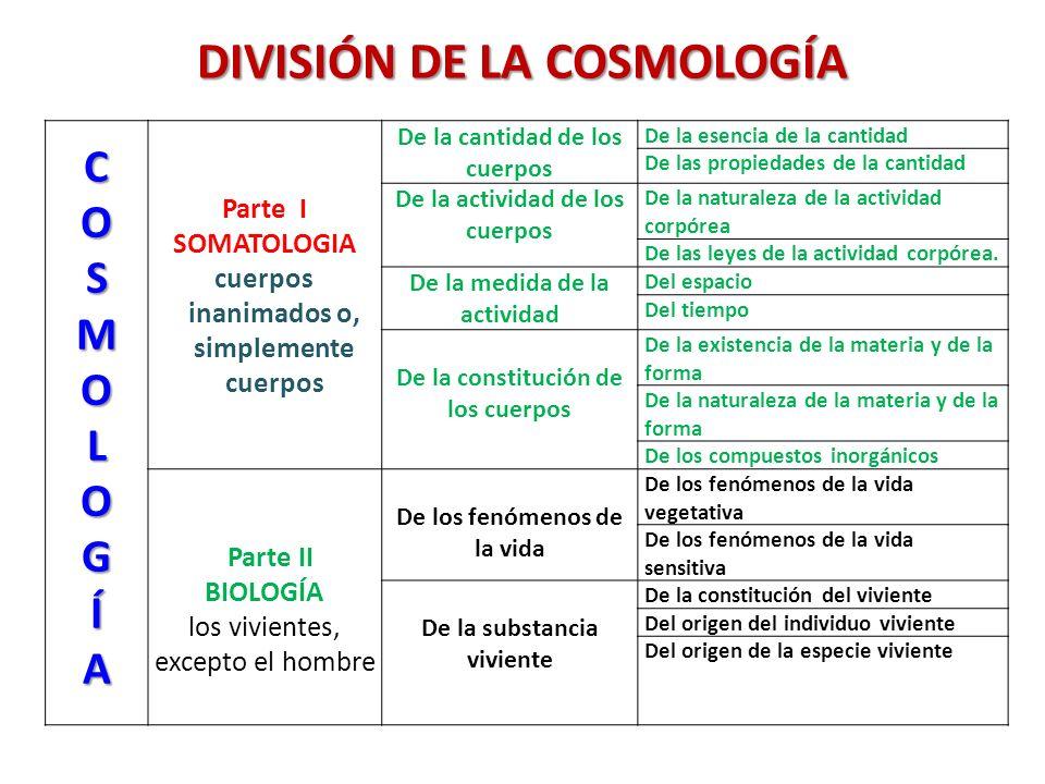 DIVISIÓN DE LA COSMOLOGÍA