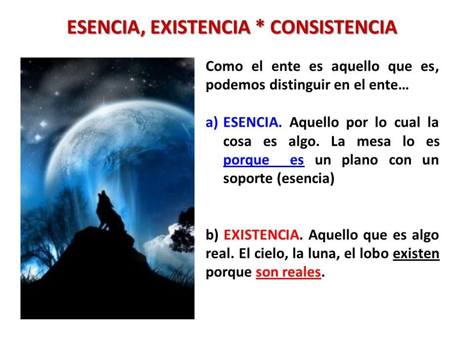 ESENCIA, EXISTENCIA * CONSISTENCIA