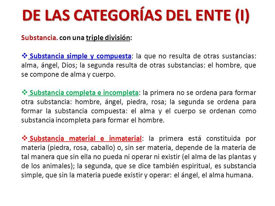 DE LAS CATEGORÍAS DEL ENTE (I)