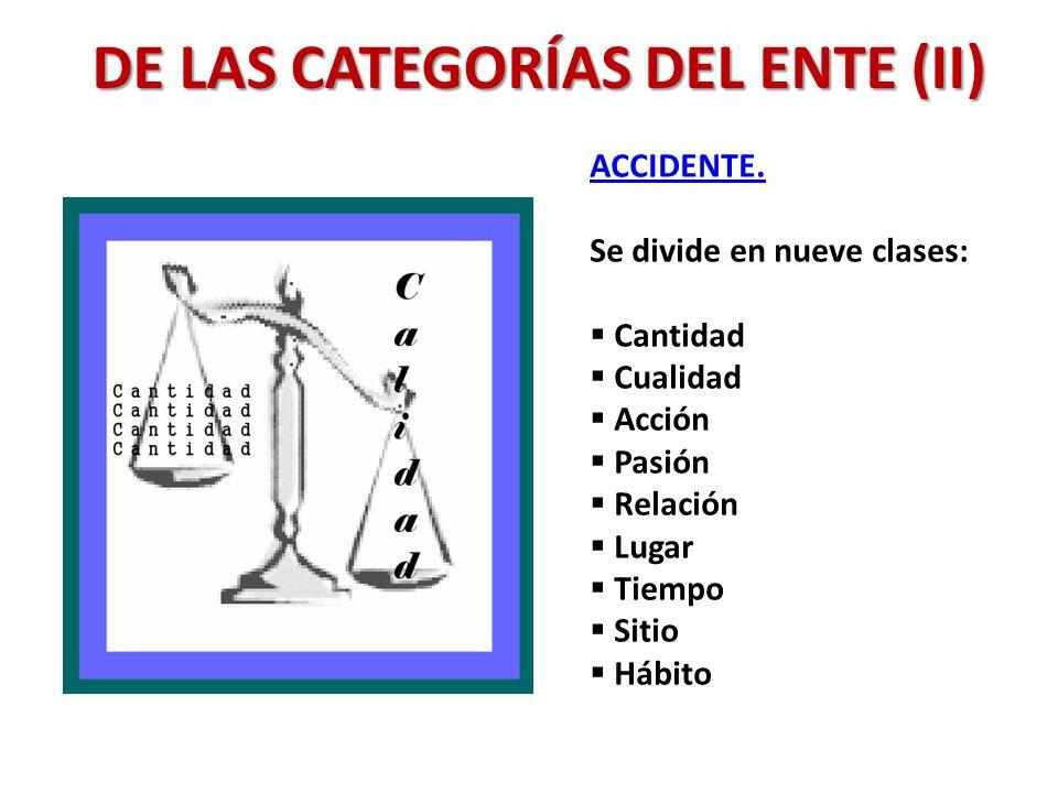 DE LAS CATEGORÍAS DEL ENTE (II)