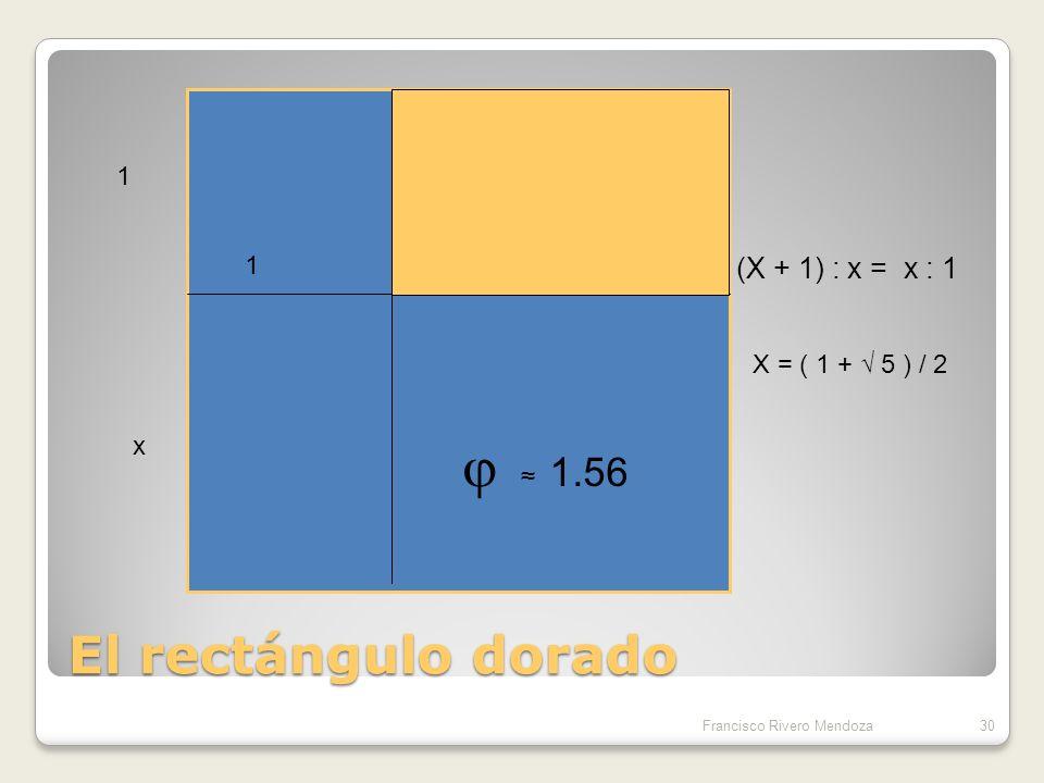 El rectángulo dorado (X + 1) : x = x : 1 1 1 x X = ( 1 + √ 5 ) / 2 x