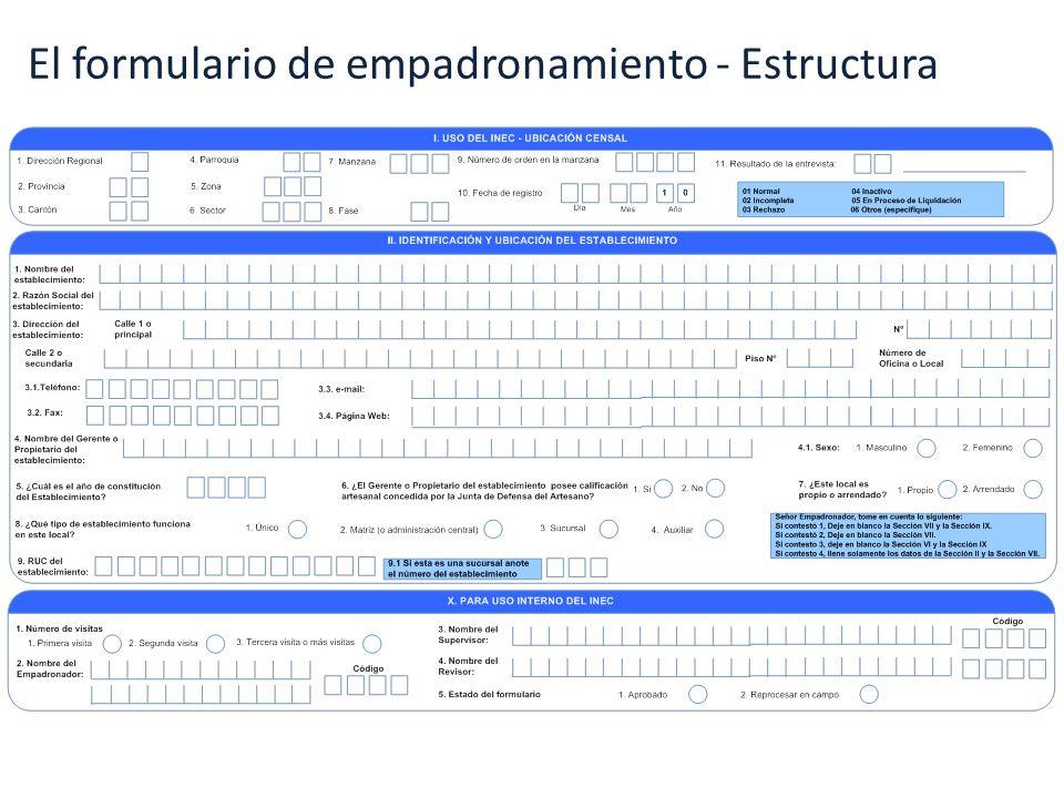 El formulario de empadronamiento - Estructura