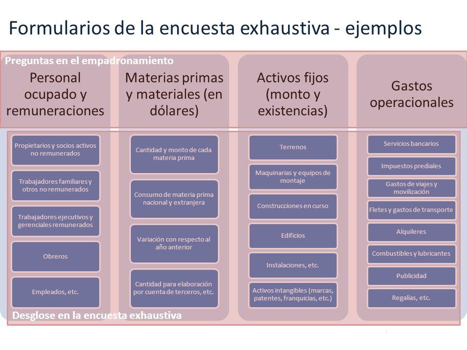 Formularios de la encuesta exhaustiva - ejemplos