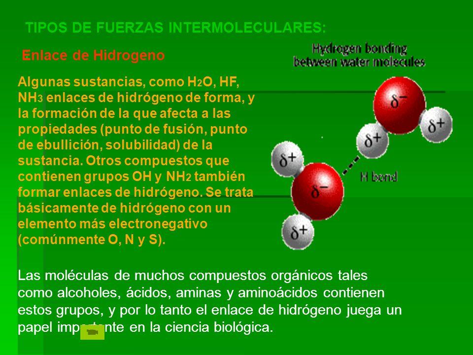 TIPOS DE FUERZAS INTERMOLECULARES: : Enlace de Hidrogeno