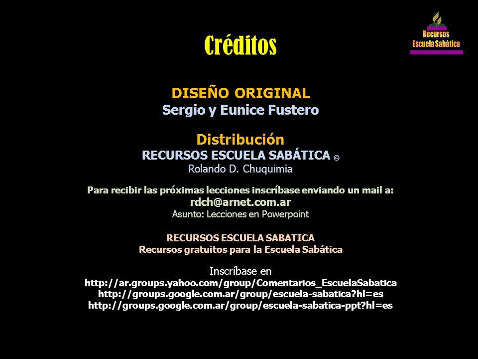 Créditos DISEÑO ORIGINAL Distribución Sergio y Eunice Fustero