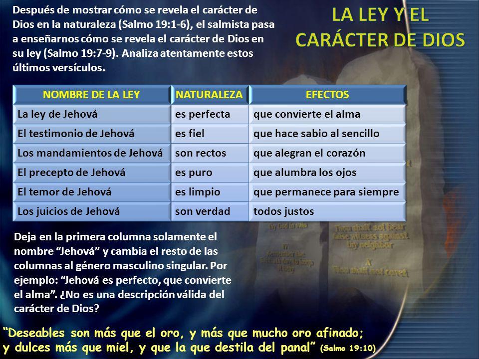 LA LEY Y EL CARÁCTER DE DIOS