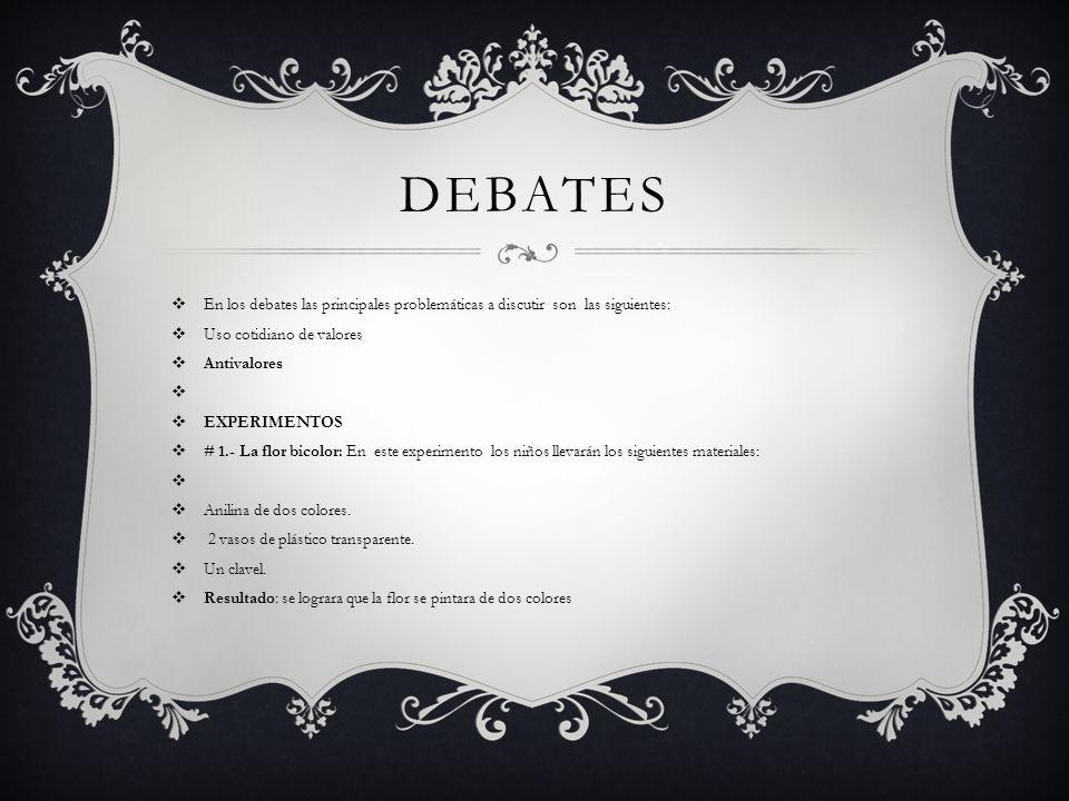 DEBATES En los debates las principales problemáticas a discutir son las siguientes: Uso cotidiano de valores.