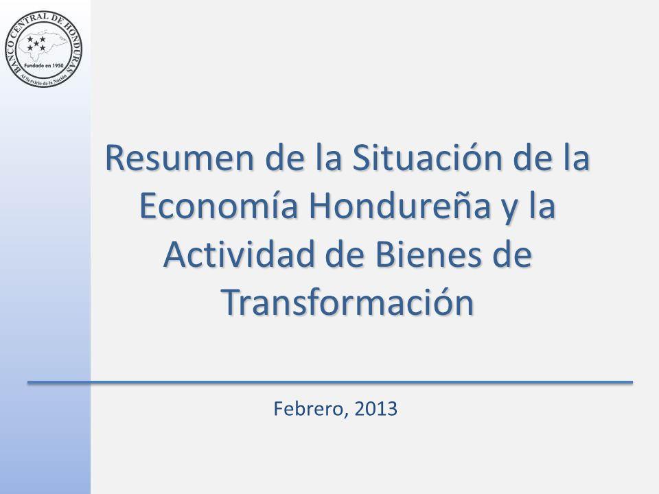 Resumen de la Situación de la Economía Hondureña y la Actividad de Bienes de Transformación