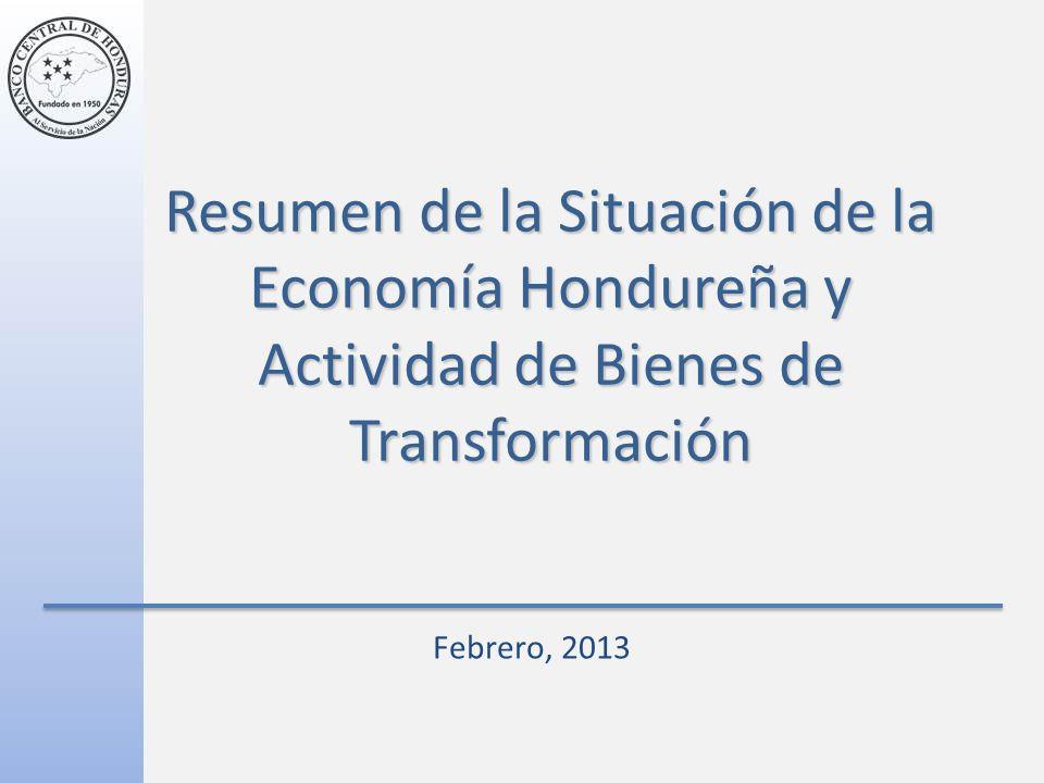 Resumen de la Situación de la Economía Hondureña y Actividad de Bienes de Transformación