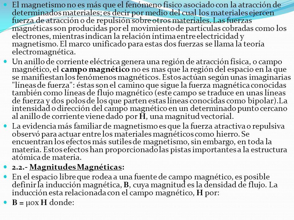 El magnetismo no es más que el fenómeno físico asociado con la atracción de determinados materiales; es decir por medio del cual los materiales ejercen fuerza de atracción o de repulsión sobre otros materiales. Las fuerzas magnéticas son producidas por el movimiento de partículas cobradas como los electrones, mientras indican la relación íntima entre electricidad y magnetismo. El marco unificado para estas dos fuerzas se llama la teoría electromagnética.