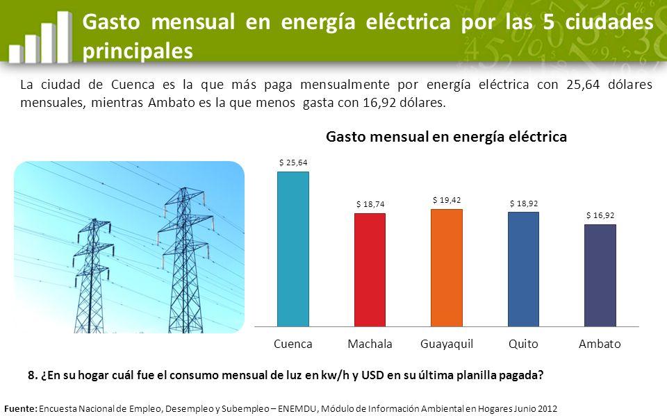 Gasto mensual en energía eléctrica por las 5 ciudades principales