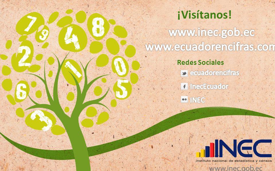 ¡Visítanos! www.inec.gob.ec www.ecuadorencifras.com Redes Sociales