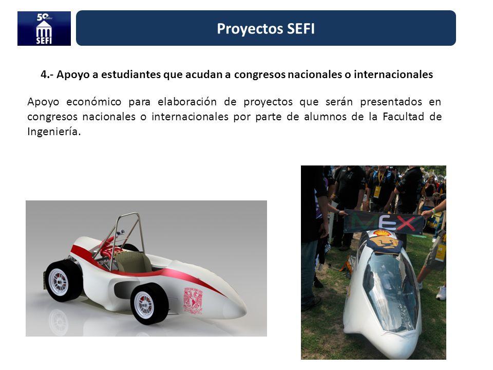 Proyectos SEFI 4.- Apoyo a estudiantes que acudan a congresos nacionales o internacionales.