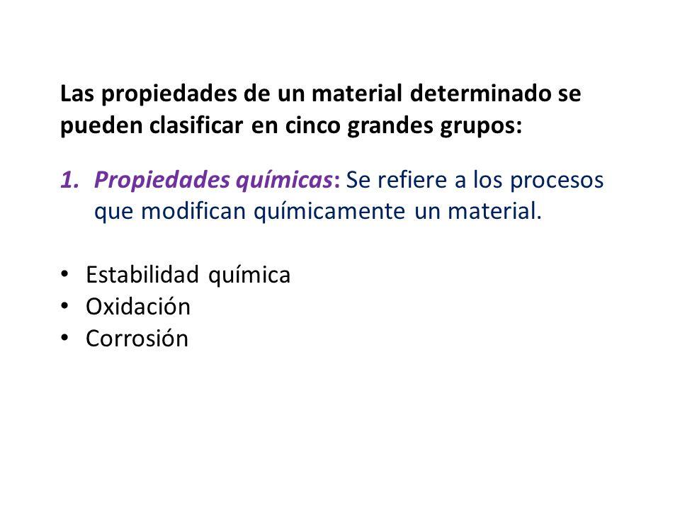 Las propiedades de un material determinado se pueden clasificar en cinco grandes grupos: