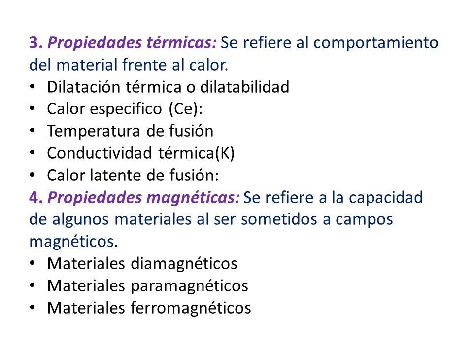 3. Propiedades térmicas: Se refiere al comportamiento del material frente al calor.
