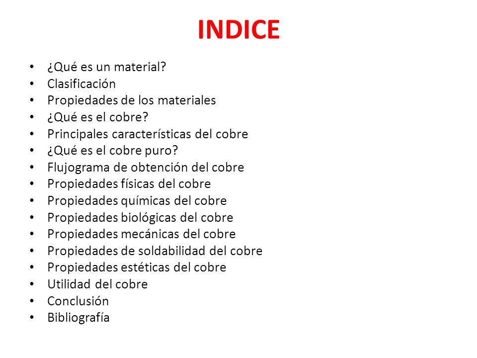 INDICE ¿Qué es un material Clasificación