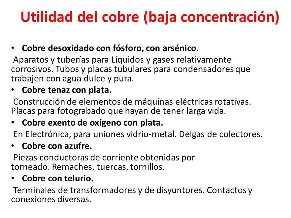 Utilidad del cobre (baja concentración)