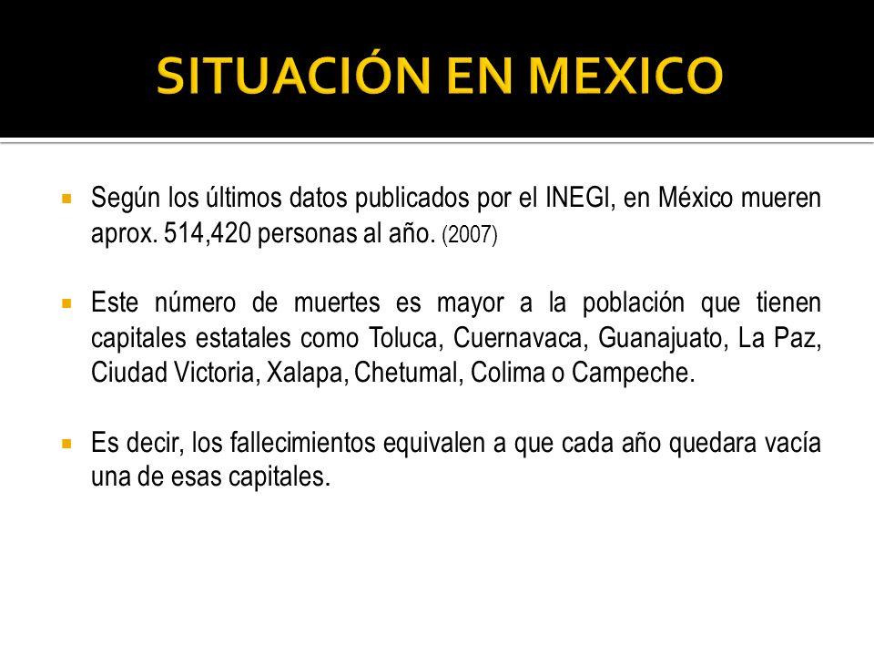 SITUACIÓN EN MEXICO Según los últimos datos publicados por el INEGI, en México mueren aprox. 514,420 personas al año. (2007)
