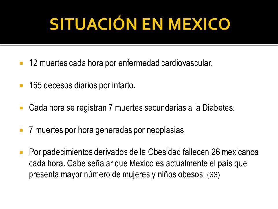 SITUACIÓN EN MEXICO 12 muertes cada hora por enfermedad cardiovascular. 165 decesos diarios por infarto.