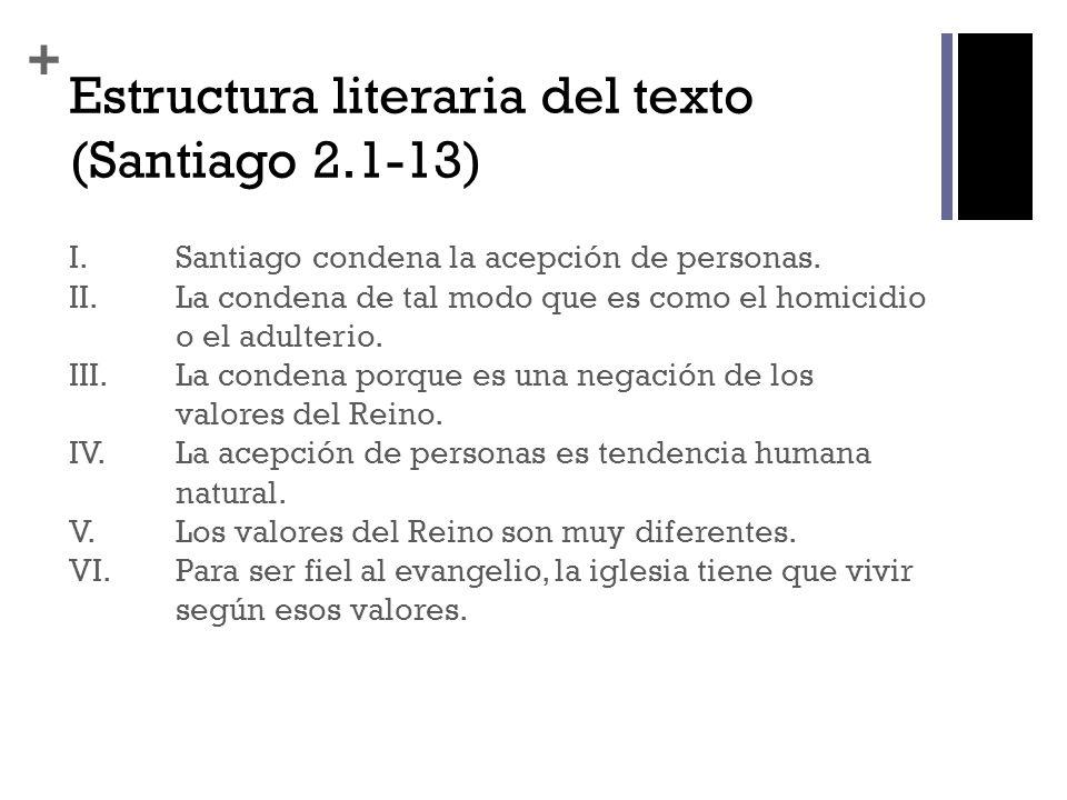 Estructura literaria del texto (Santiago 2.1-13)