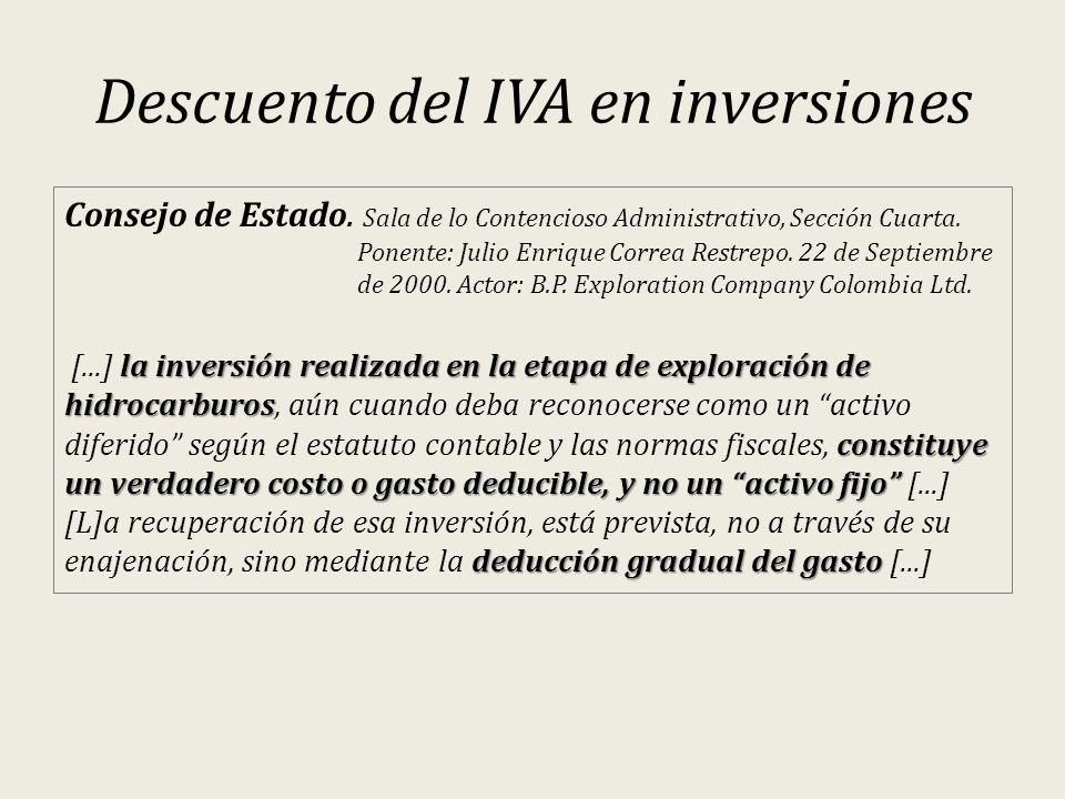 Descuento del IVA en inversiones