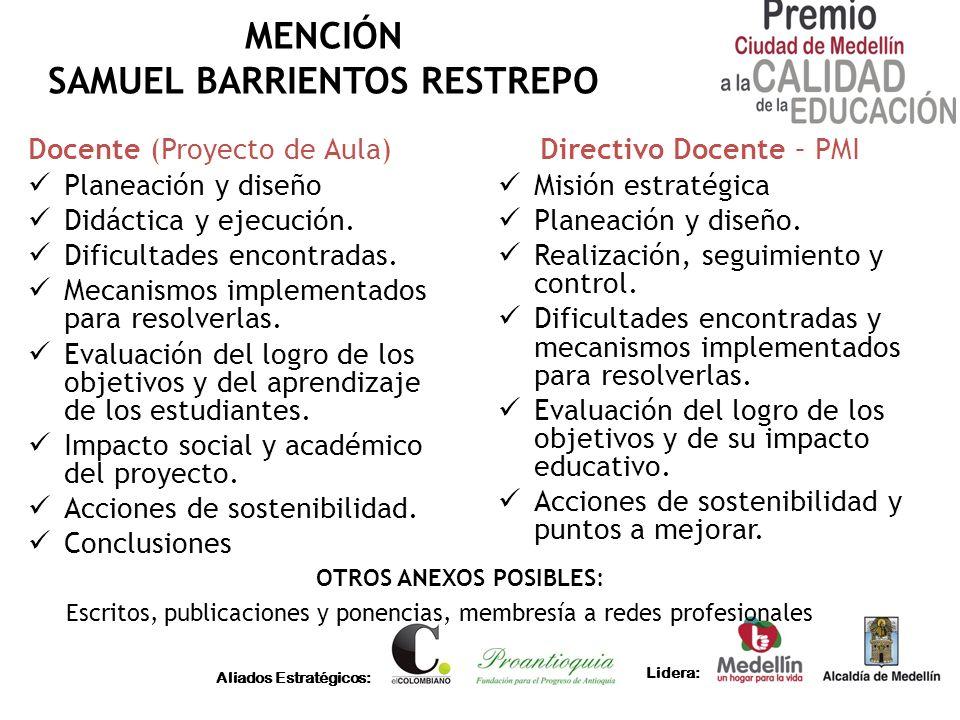 MENCIÓN SAMUEL BARRIENTOS RESTREPO