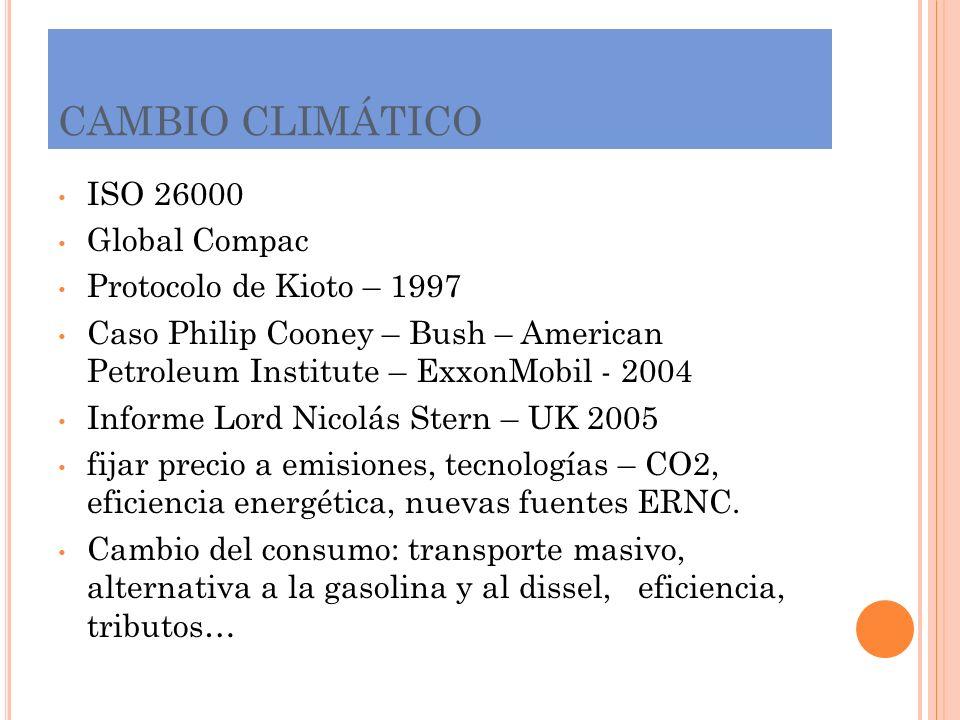 CAMBIO CLIMÁTICO ISO 26000 Global Compac Protocolo de Kioto – 1997