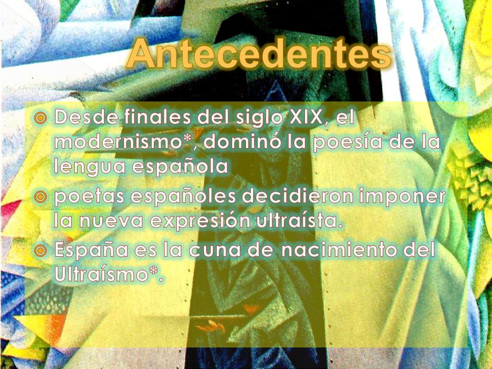 Antecedentes Desde finales del siglo XIX, el modernismo*, dominó la poesía de la lengua española.