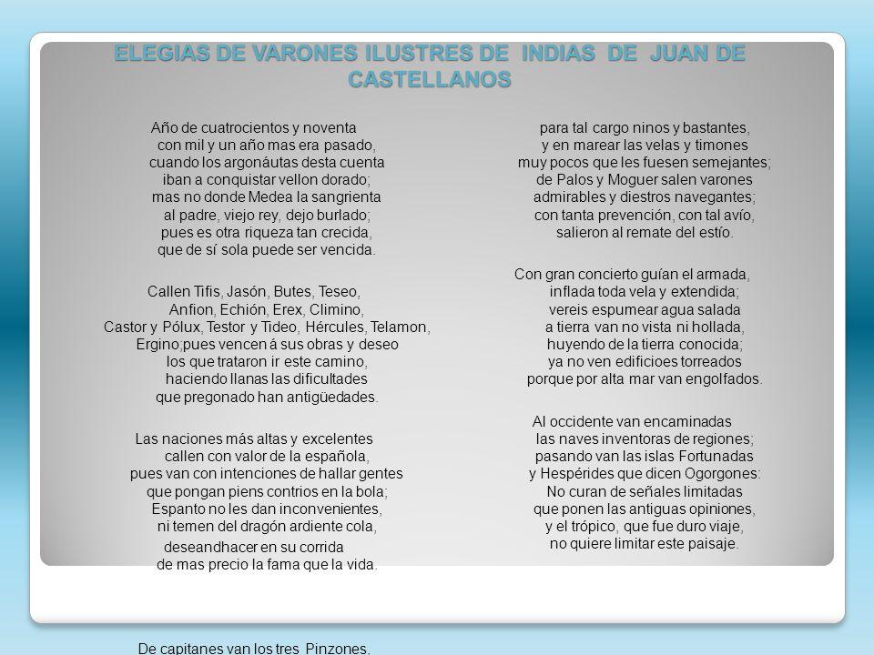 ELEGIAS DE VARONES ILUSTRES DE INDIAS DE JUAN DE CASTELLANOS