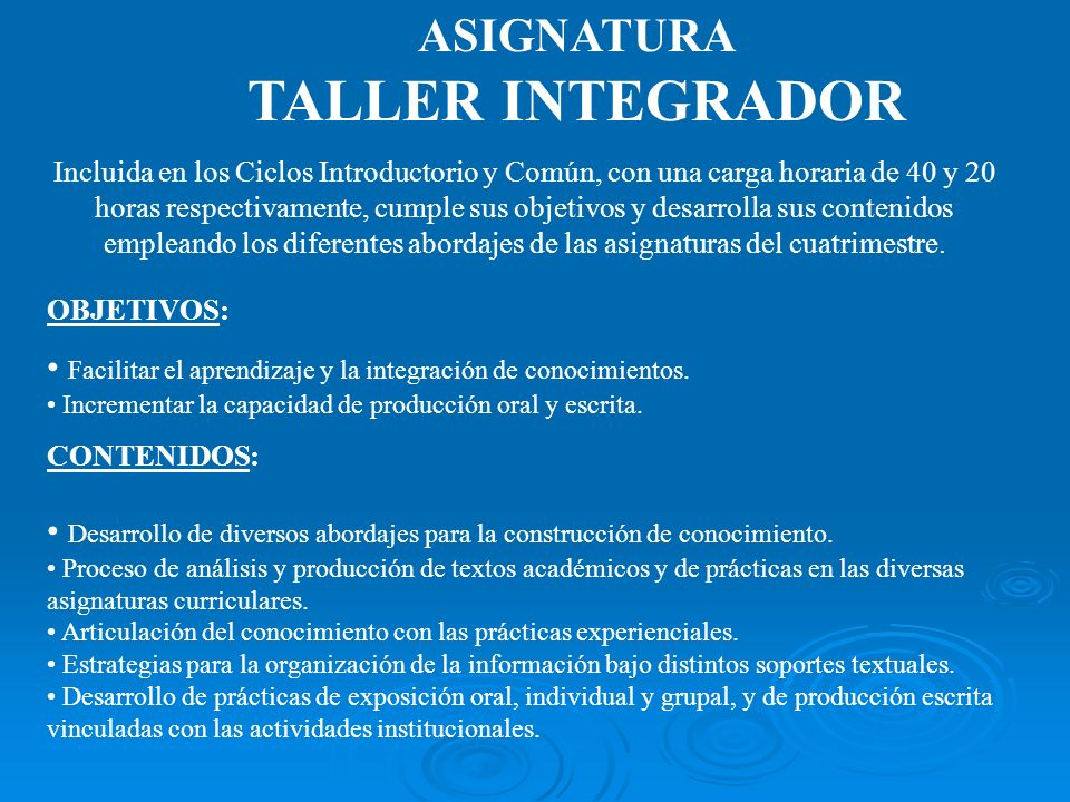TALLER INTEGRADOR ASIGNATURA