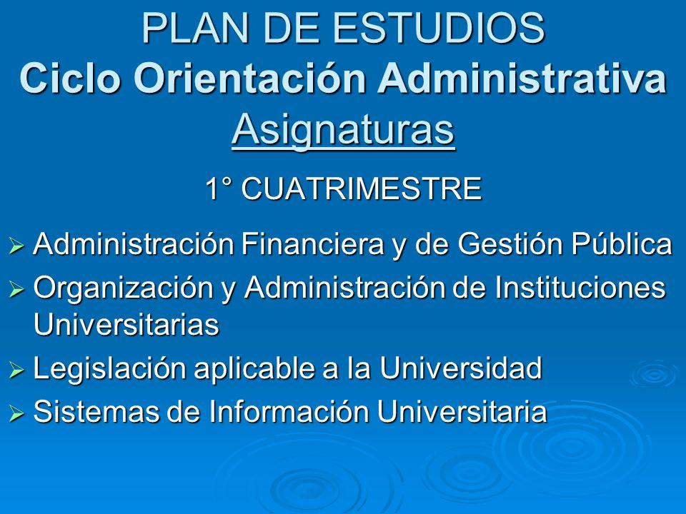 PLAN DE ESTUDIOS Ciclo Orientación Administrativa Asignaturas